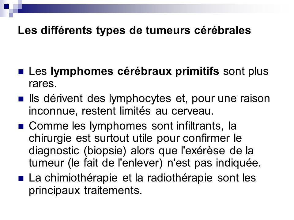 Les différents types de tumeurs cérébrales