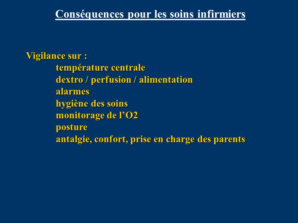 Conséquences pour les soins infirmiers