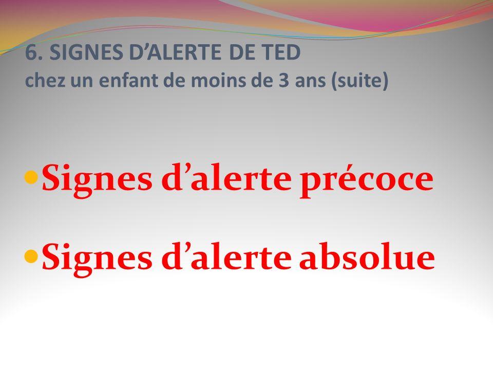 6. SIGNES D'ALERTE DE TED chez un enfant de moins de 3 ans (suite)