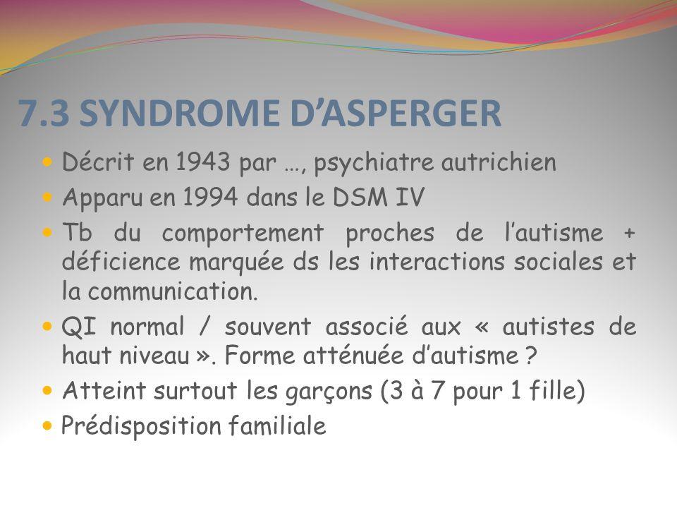7.3 SYNDROME D'ASPERGER Décrit en 1943 par …, psychiatre autrichien