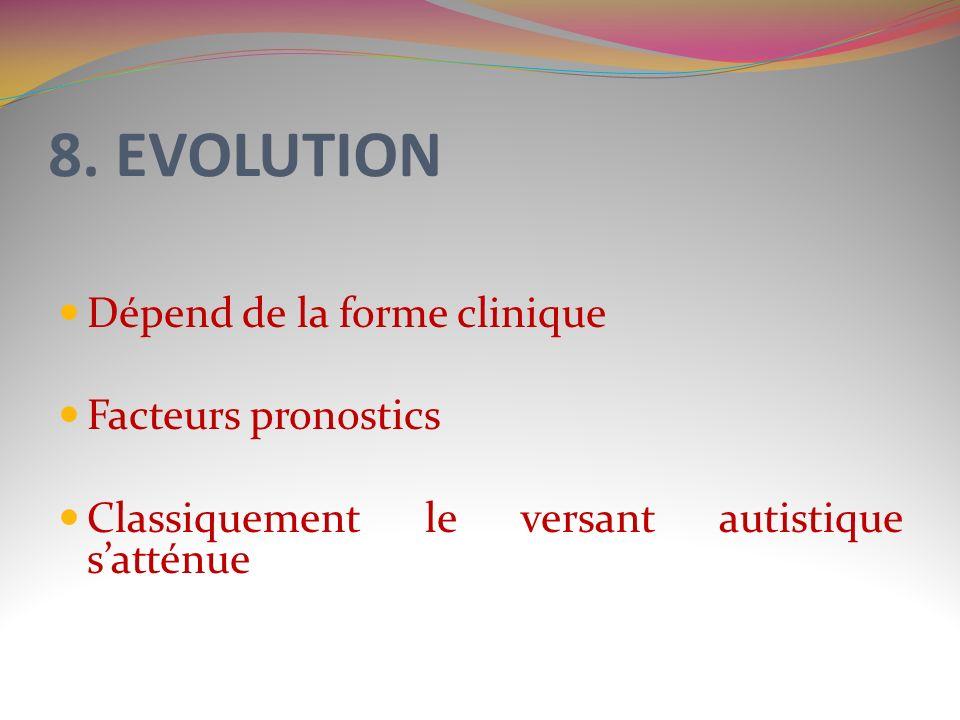 8. EVOLUTION Dépend de la forme clinique Facteurs pronostics