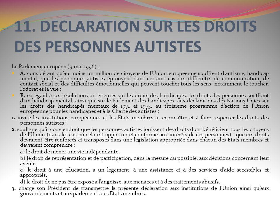 11. DECLARATION SUR LES DROITS DES PERSONNES AUTISTES