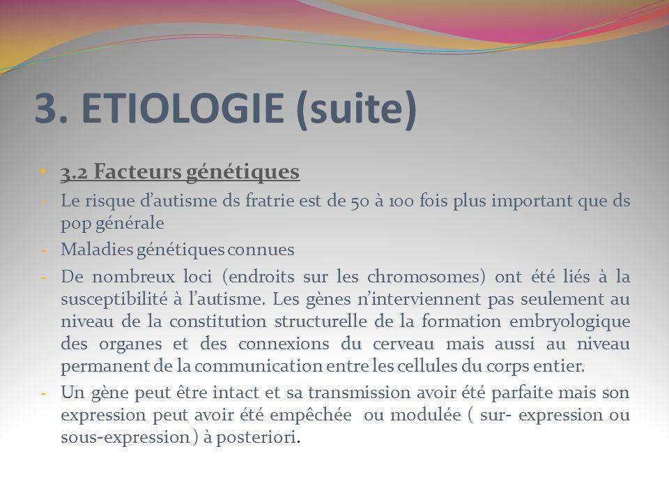 3. ETIOLOGIE (suite) 3.2 Facteurs génétiques
