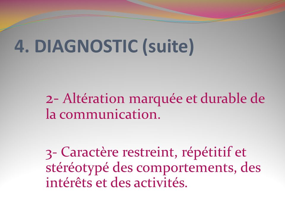 4. DIAGNOSTIC (suite) 2- Altération marquée et durable de la communication.