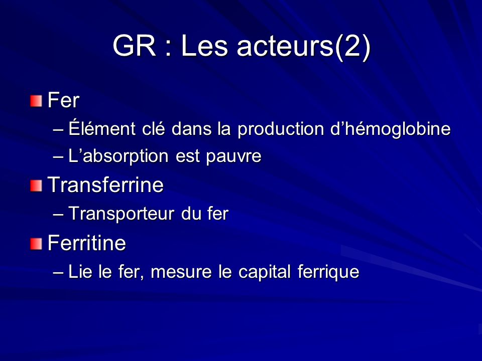 GR : Les acteurs(2) Fer Transferrine Ferritine