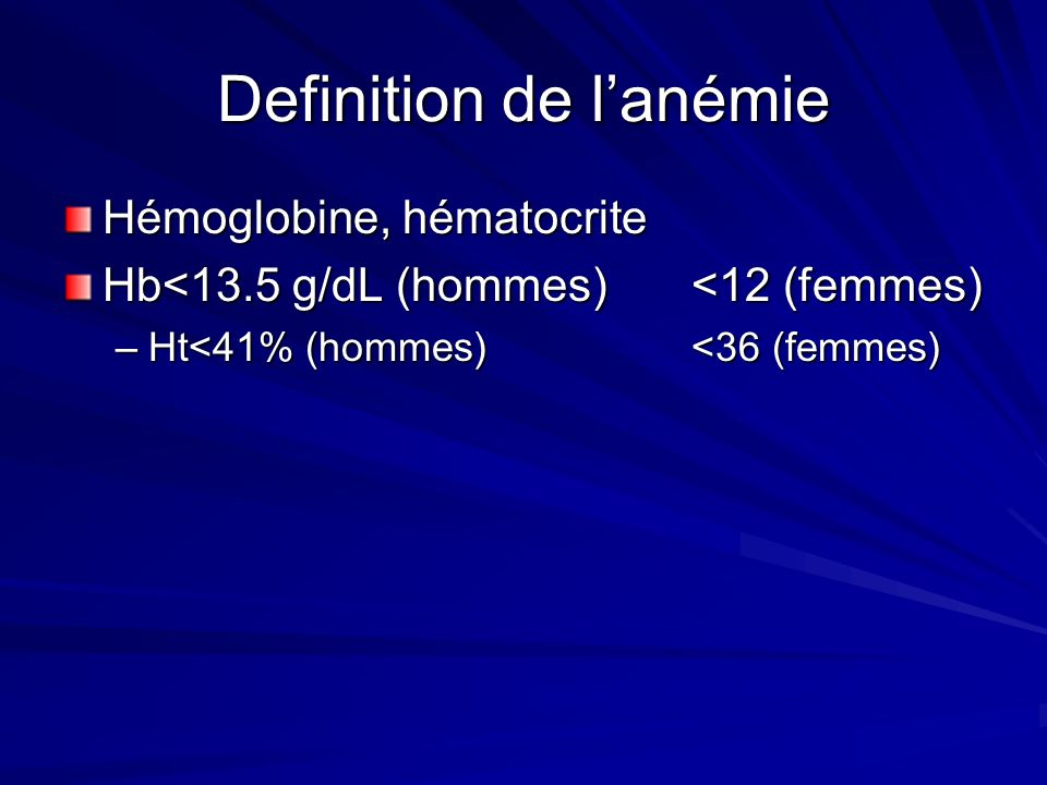 Definition de l'anémie