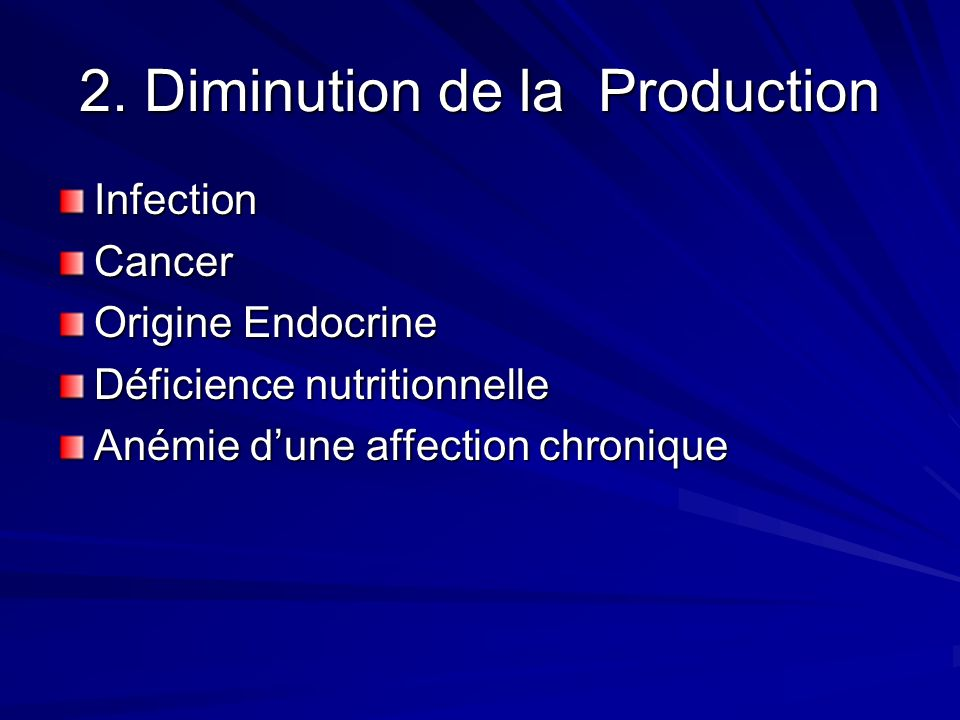 2. Diminution de la Production