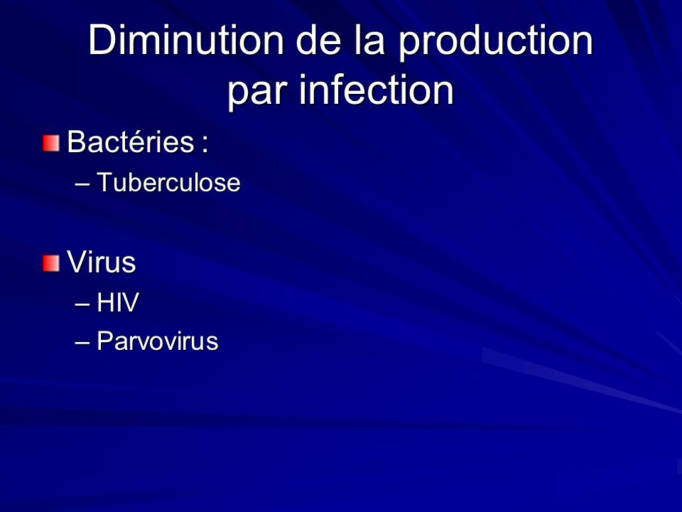 Diminution de la production par infection
