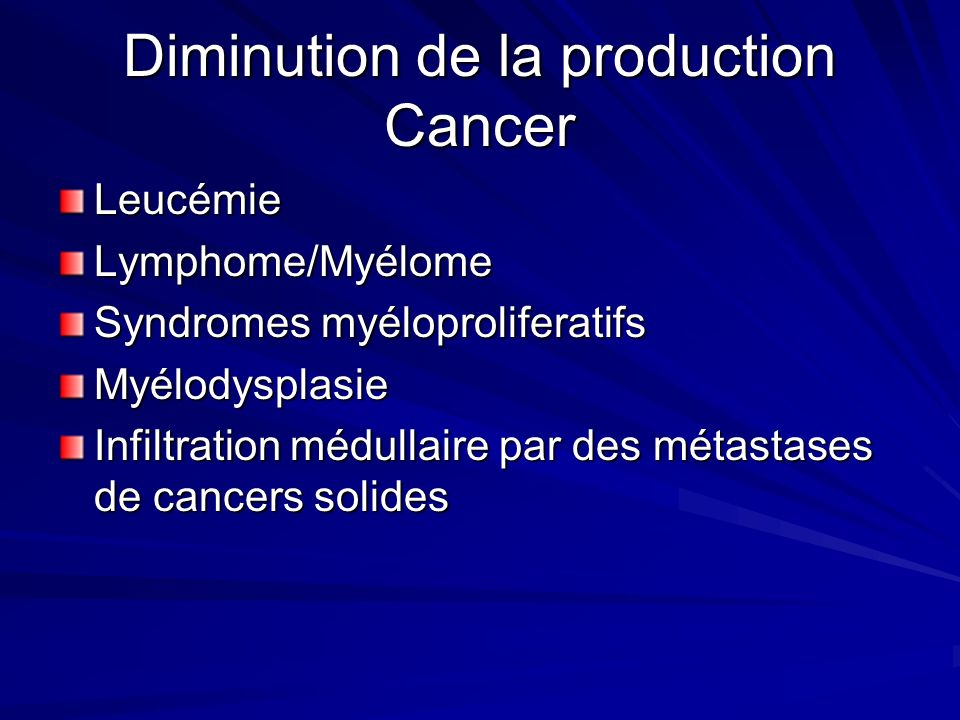 Diminution de la production Cancer