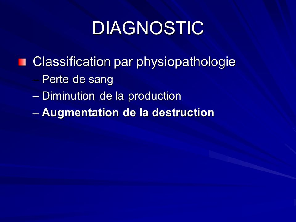 DIAGNOSTIC Classification par physiopathologie Perte de sang