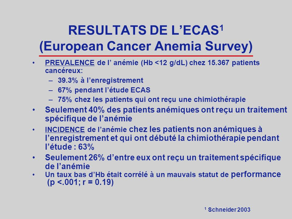 RESULTATS DE L'ECAS1 (European Cancer Anemia Survey)