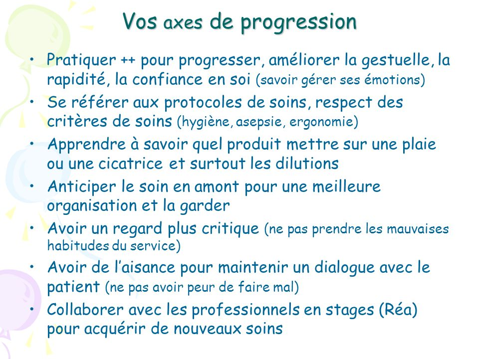 Vos axes de progression