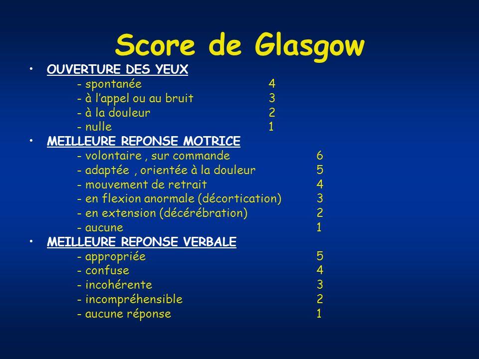 Score de Glasgow OUVERTURE DES YEUX - spontanée 4