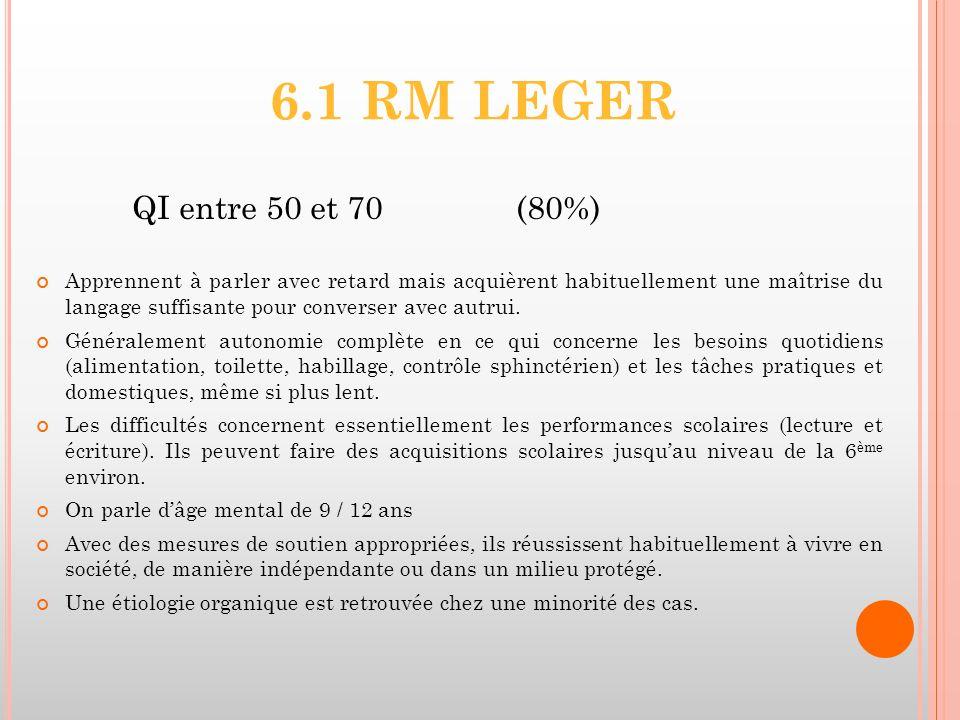 6.1 RM LEGER QI entre 50 et 70 (80%)