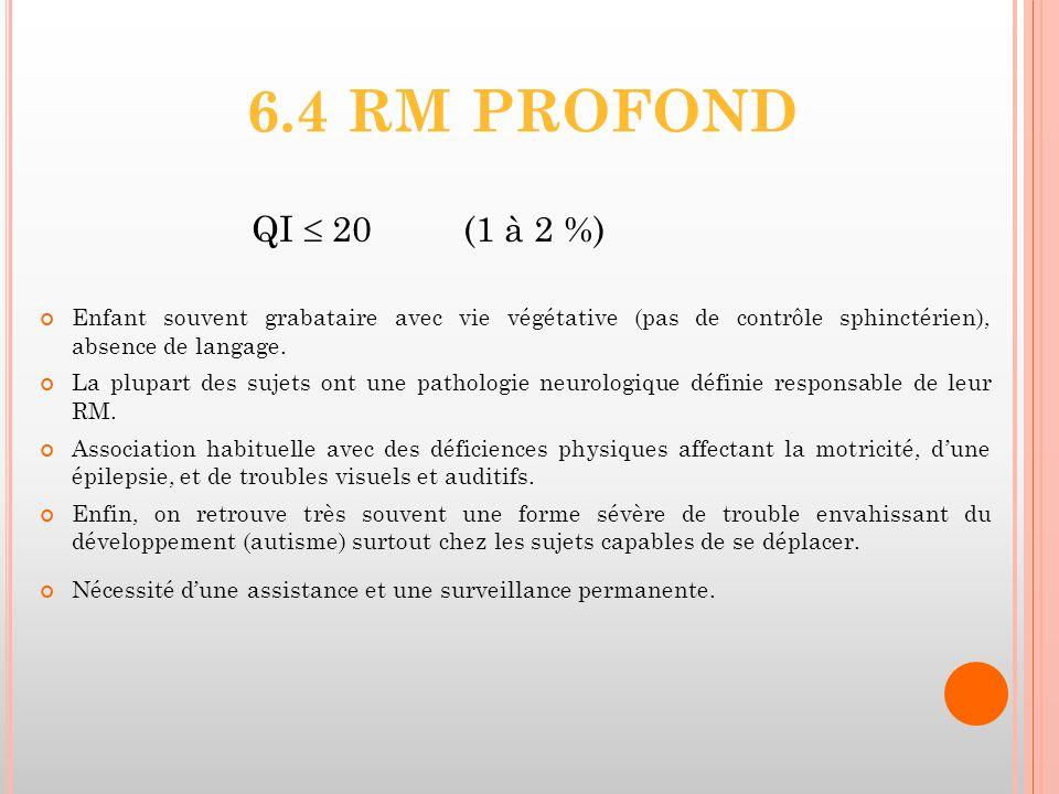 6.4 RM PROFOND QI  20 (1 à 2 %) Enfant souvent grabataire avec vie végétative (pas de contrôle sphinctérien), absence de langage.
