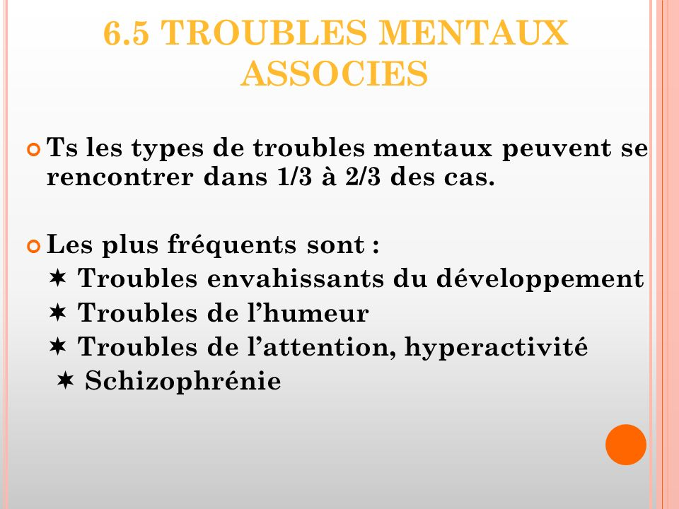 6.5 TROUBLES MENTAUX ASSOCIES