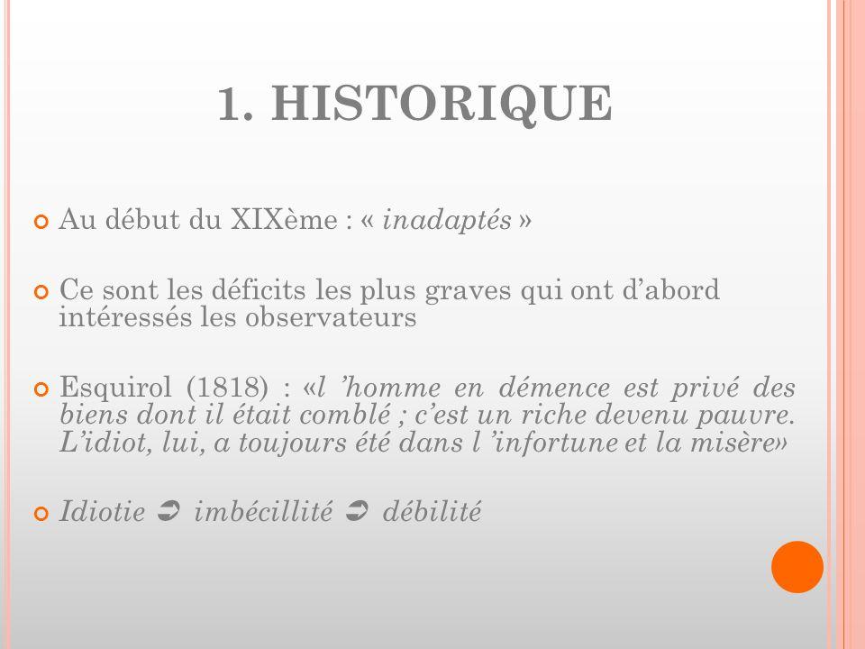 1. HISTORIQUE Au début du XIXème : « inadaptés »