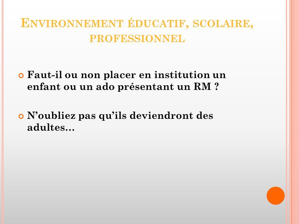 Environnement éducatif, scolaire, professionnel