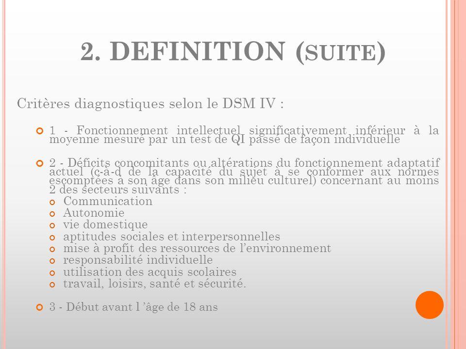 2. DEFINITION (suite) Critères diagnostiques selon le DSM IV :