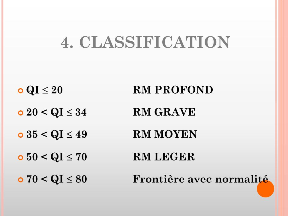 4. CLASSIFICATION QI  20 RM PROFOND 20 < QI  34 RM GRAVE