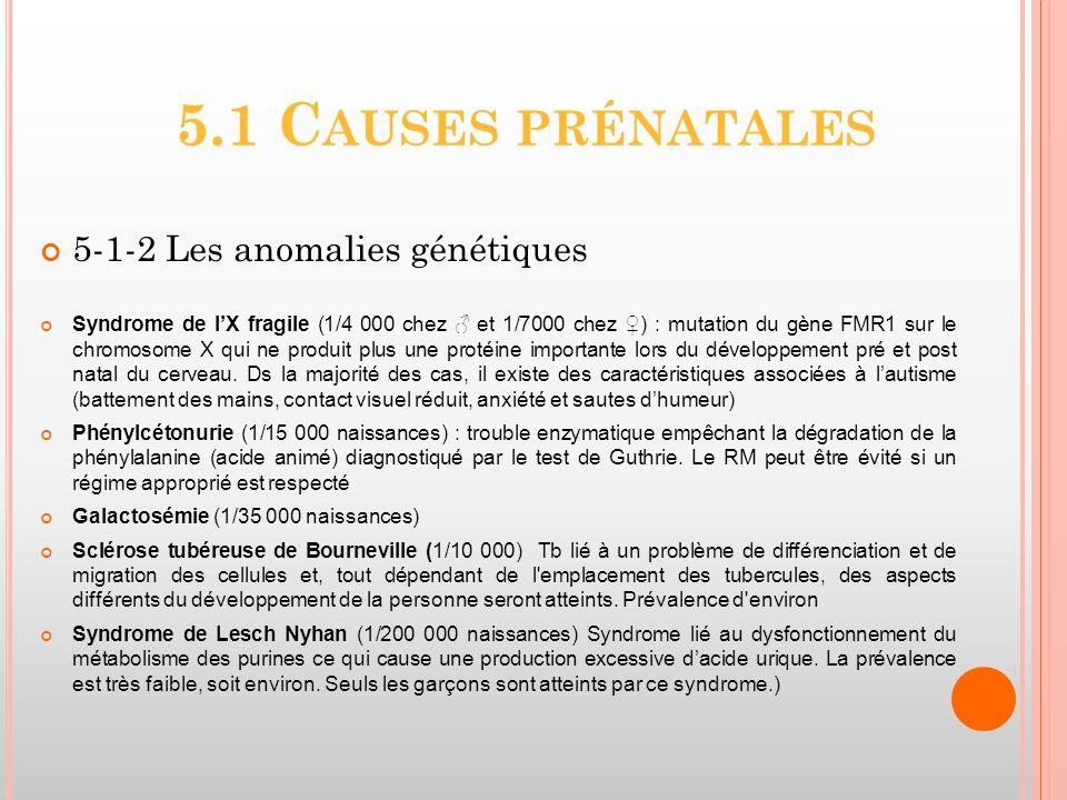 5.1 Causes prénatales 5-1-2 Les anomalies génétiques
