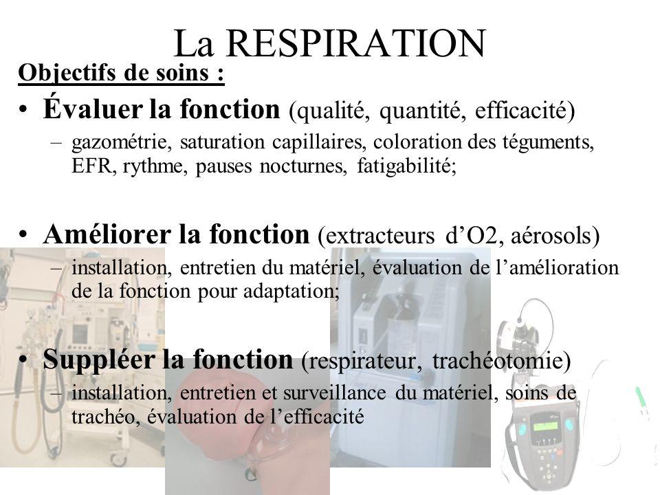 La RESPIRATION Évaluer la fonction (qualité, quantité, efficacité)