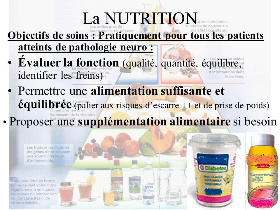 La NUTRITION Objectifs de soins : Pratiquement pour tous les patients atteints de pathologie neuro :