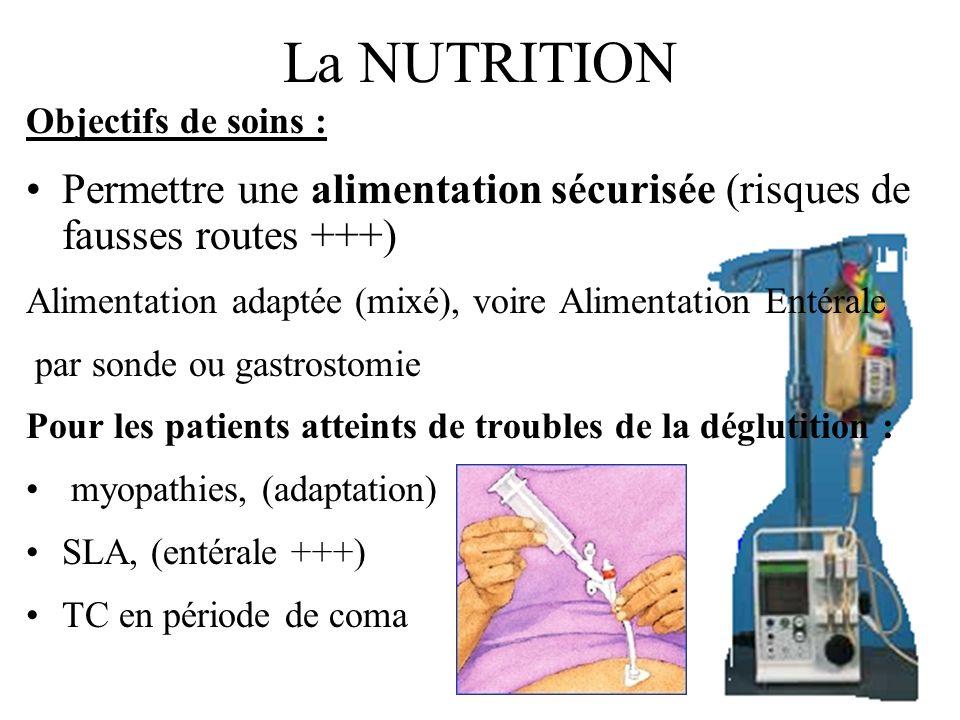 La NUTRITION Objectifs de soins : Permettre une alimentation sécurisée (risques de fausses routes +++)