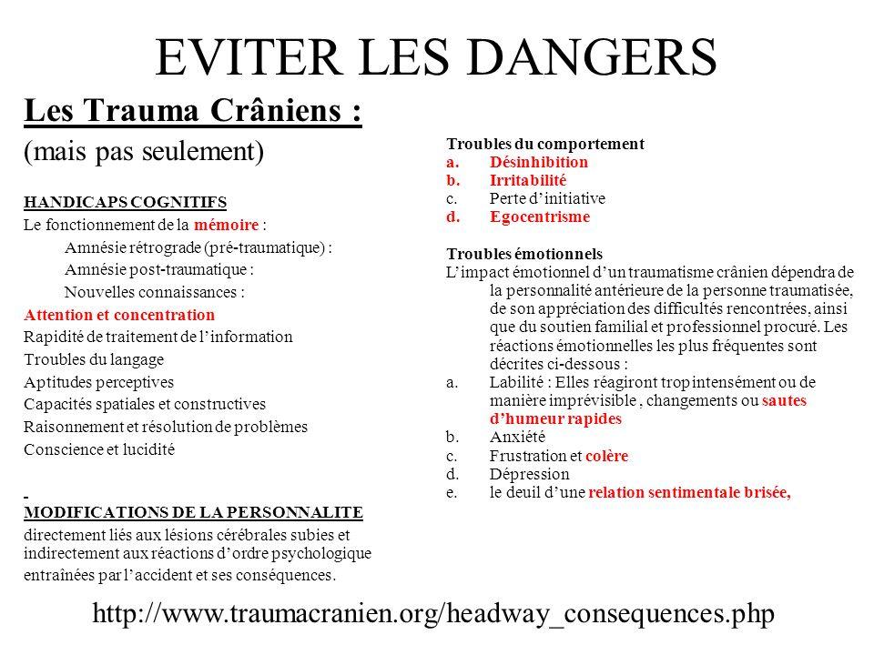EVITER LES DANGERS Les Trauma Crâniens : (mais pas seulement)