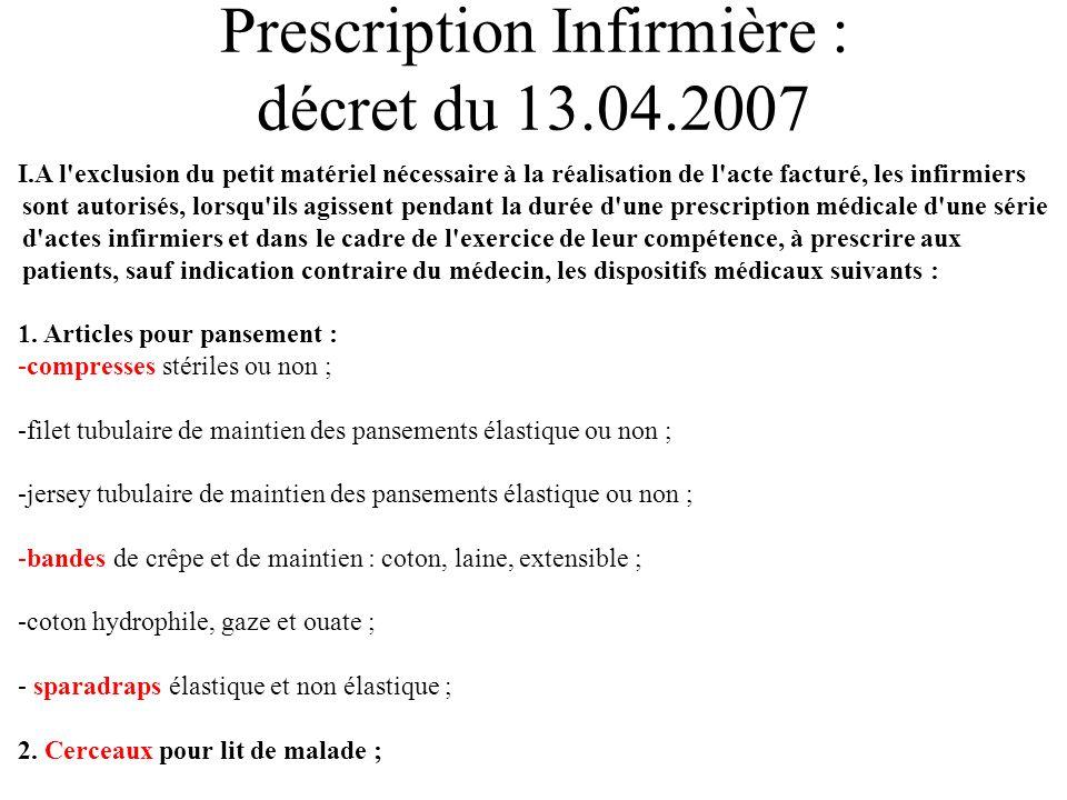 Prescription Infirmière : décret du 13.04.2007