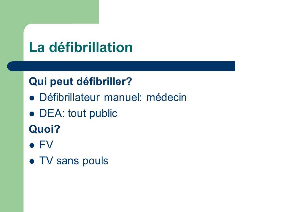 La défibrillation Qui peut défibriller Défibrillateur manuel: médecin