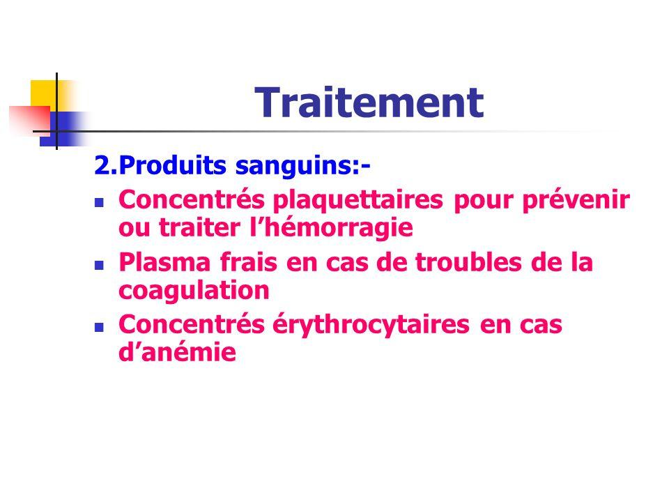 Traitement 2. Produits sanguins:-