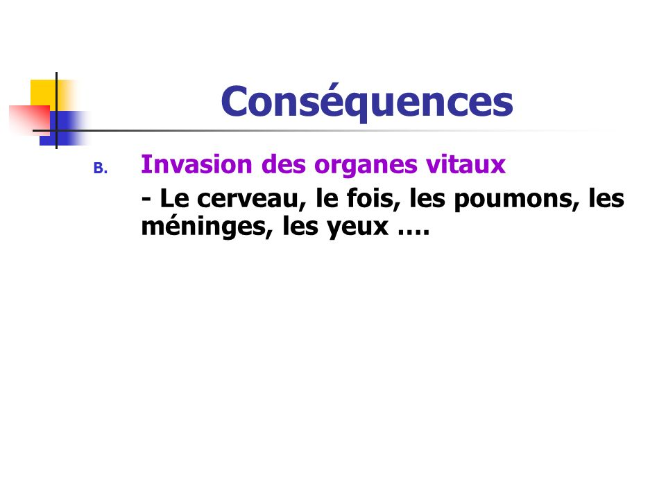 Conséquences Invasion des organes vitaux