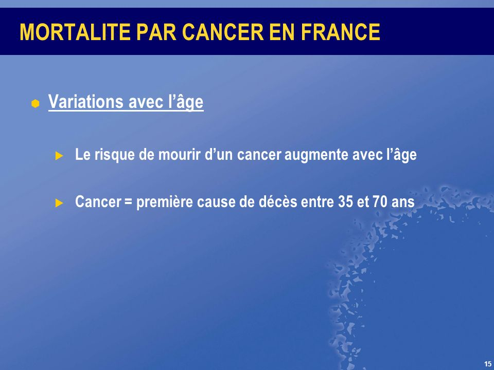 MORTALITE PAR CANCER EN FRANCE