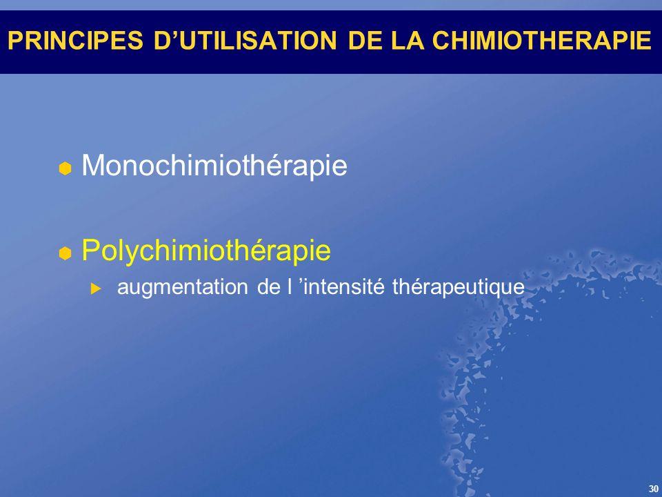 PRINCIPES D'UTILISATION DE LA CHIMIOTHERAPIE