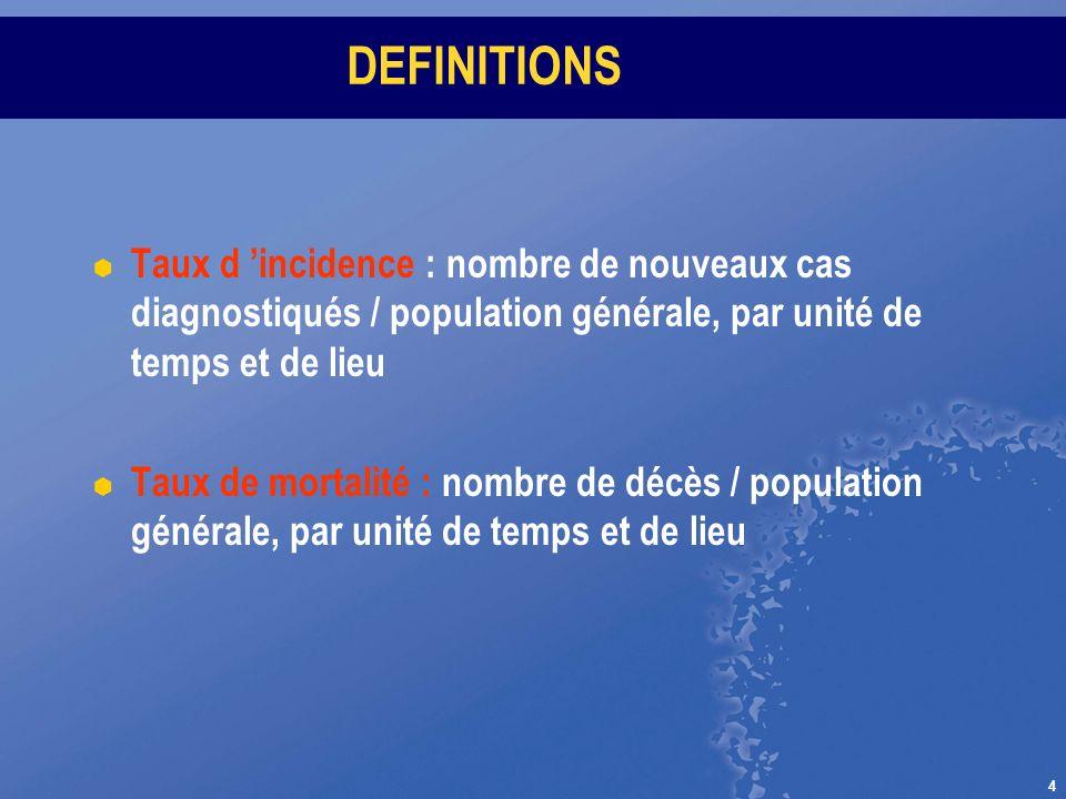 DEFINITIONS Taux d 'incidence : nombre de nouveaux cas diagnostiqués / population générale, par unité de temps et de lieu.