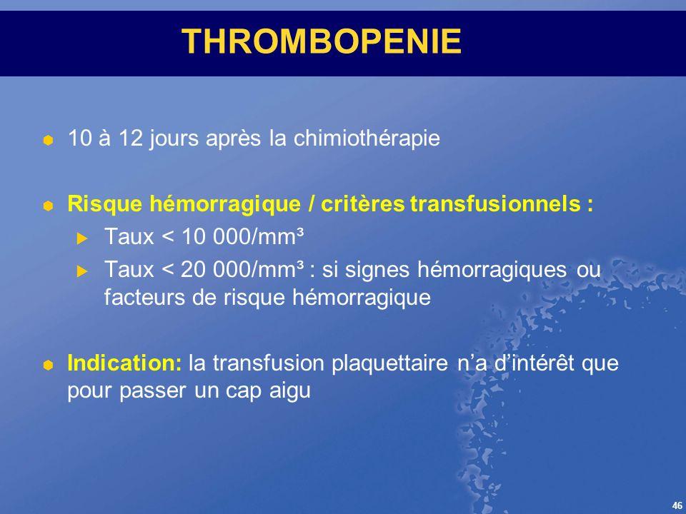 THROMBOPENIE 10 à 12 jours après la chimiothérapie