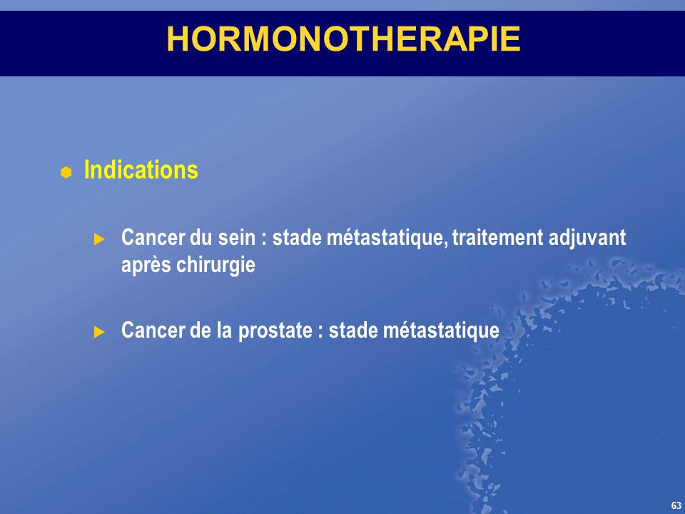 HORMONOTHERAPIE Indications