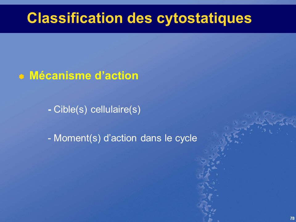 Classification des cytostatiques