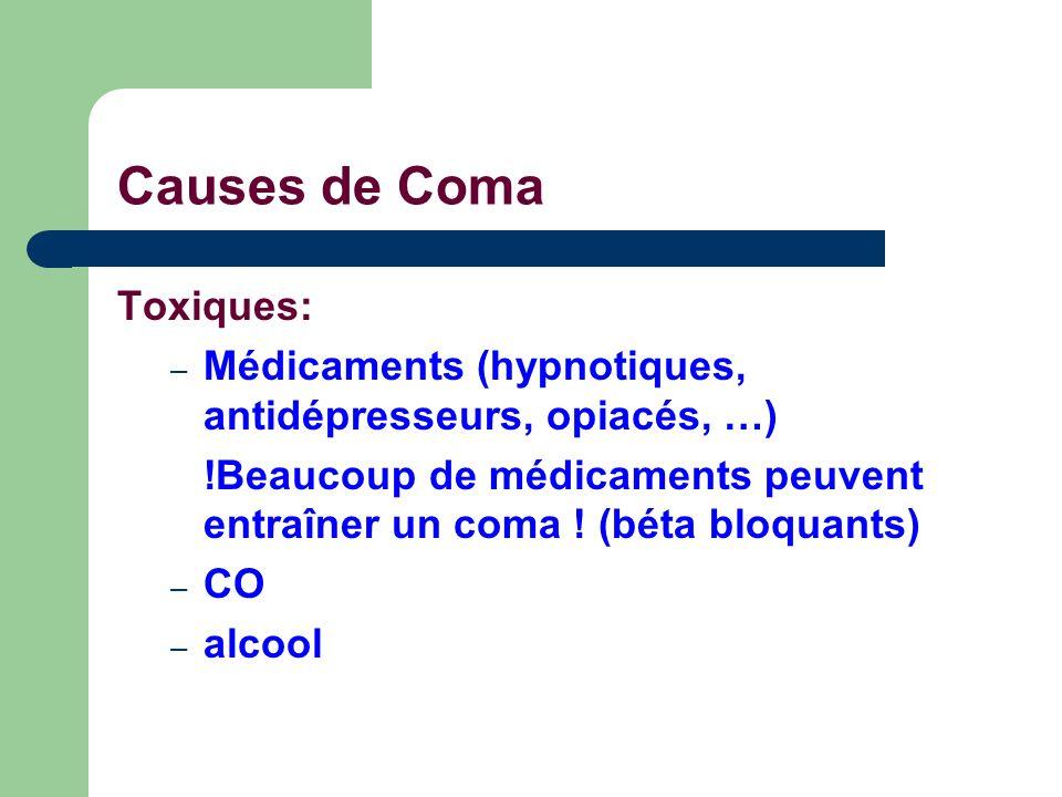 Causes de Coma Toxiques: