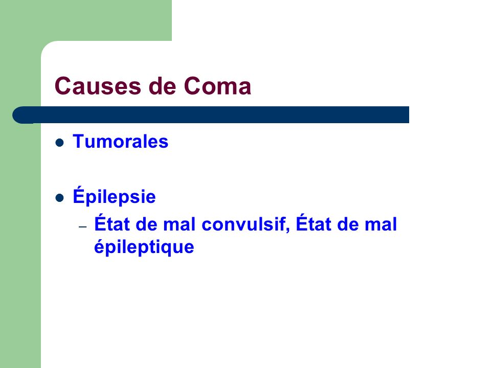 Causes de Coma Tumorales Épilepsie