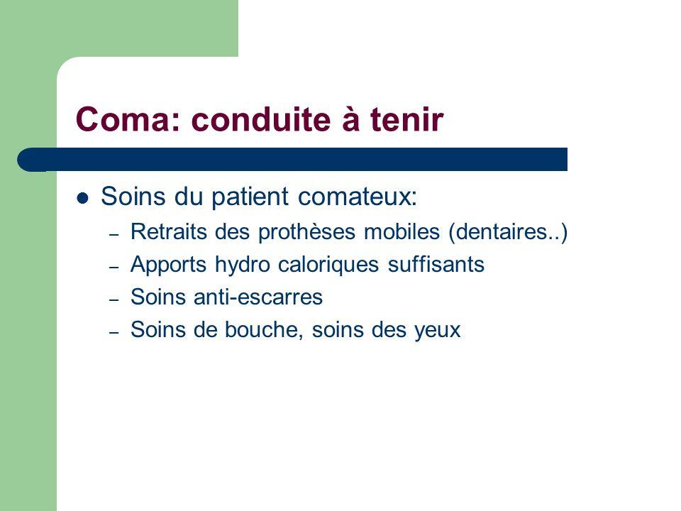 Coma: conduite à tenir Soins du patient comateux: