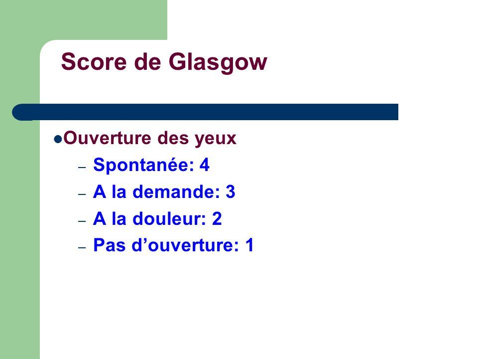 Score de Glasgow Ouverture des yeux Spontanée: 4 A la demande: 3