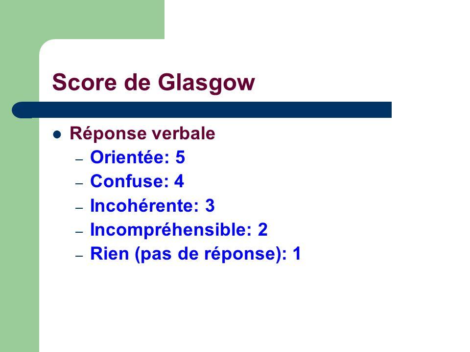 Score de Glasgow Réponse verbale Orientée: 5 Confuse: 4 Incohérente: 3