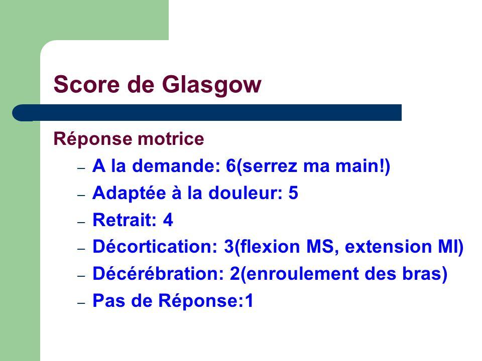 Score de Glasgow Réponse motrice A la demande: 6(serrez ma main!)