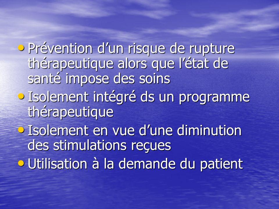 Prévention d'un risque de rupture thérapeutique alors que l'état de santé impose des soins