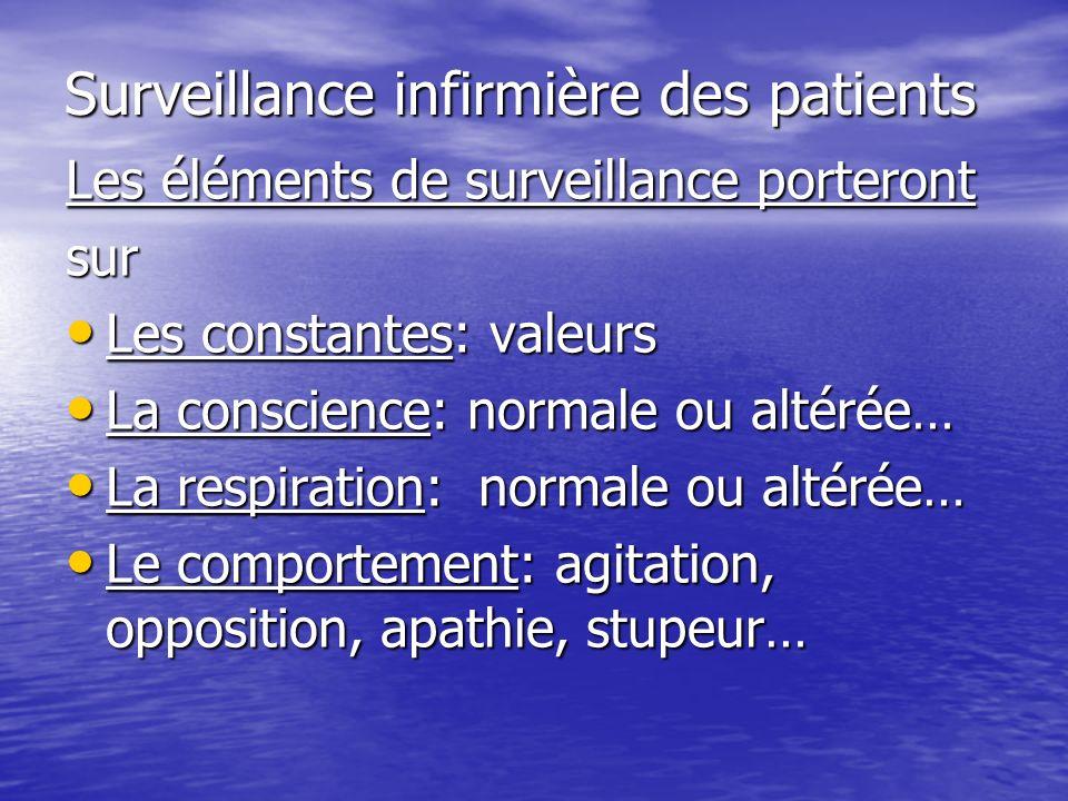 Surveillance infirmière des patients