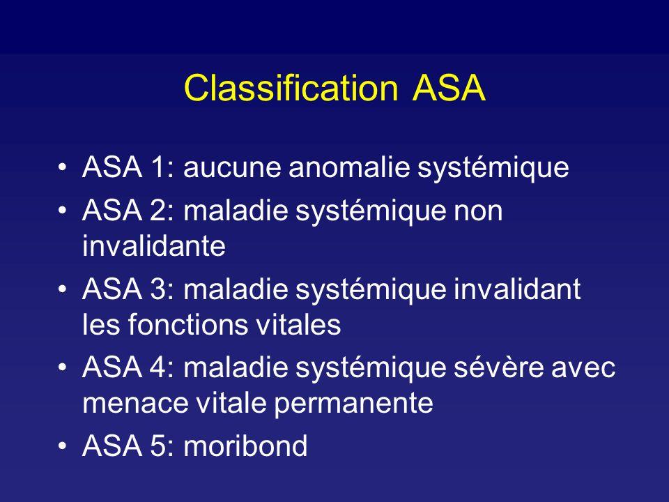 Classification ASA ASA 1: aucune anomalie systémique