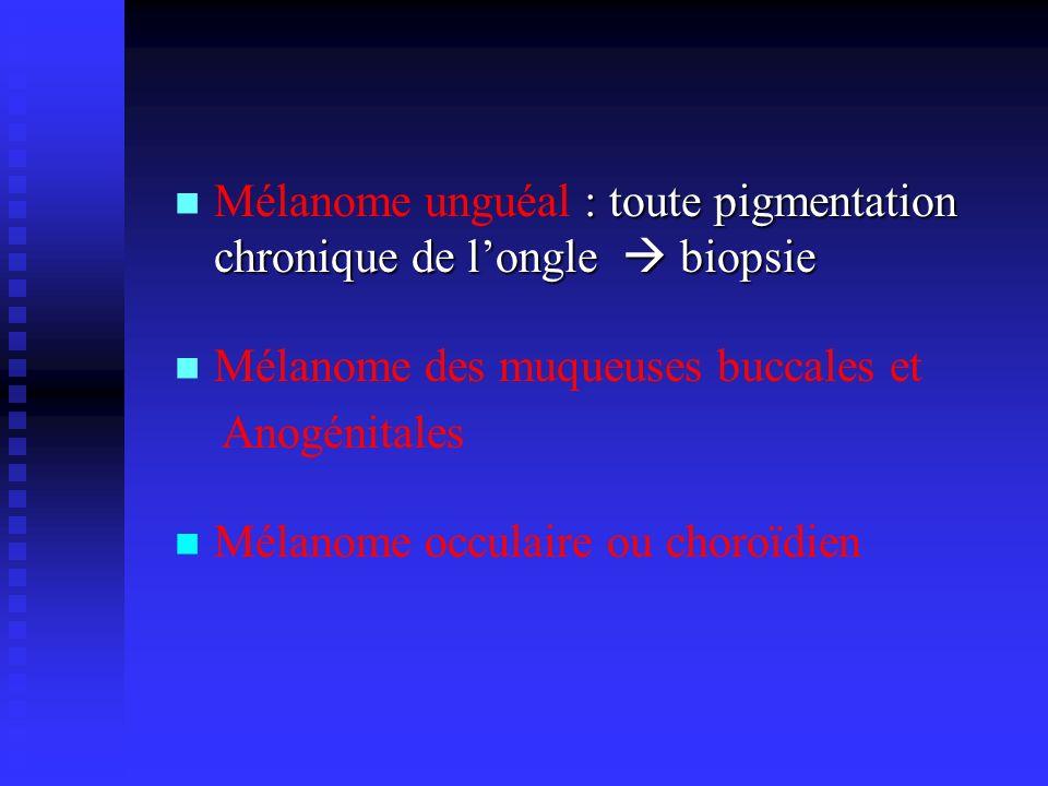 Mélanome unguéal : toute pigmentation chronique de l'ongle  biopsie