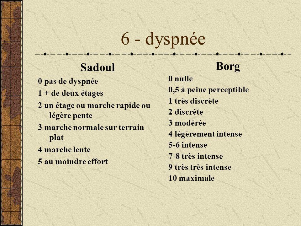 6 - dyspnée Sadoul Borg 0 pas de dyspnée 0 nulle